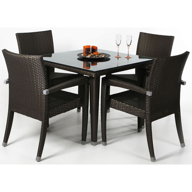 Rattan Five Piece Patio Table Set