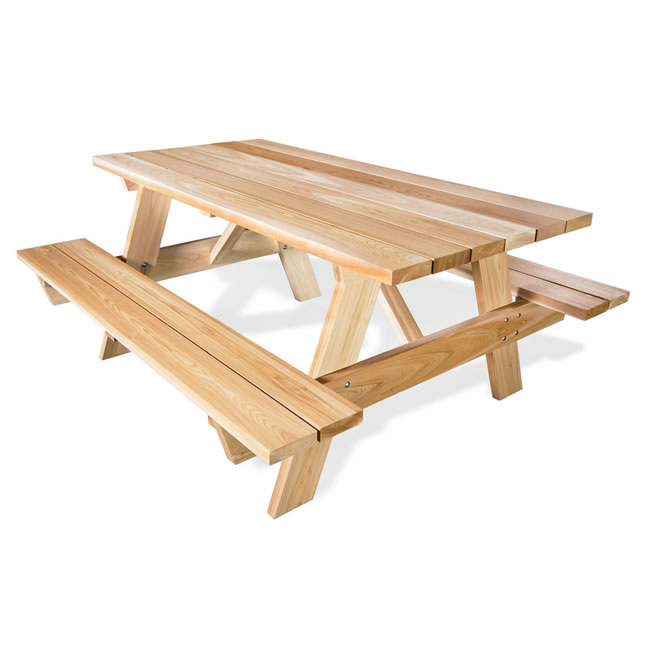 Six Foot Picnic Table with Attached Benches