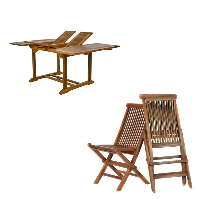 Nine Piece Butterfly Table and Folding Chair Set