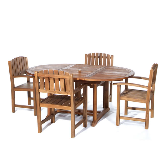 Five Piece Oval Dining Table and Chair Set