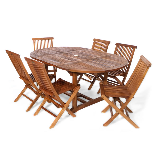 7 piece Oval Folding Chair Set