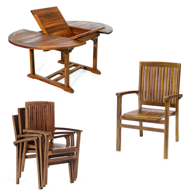 Five Piece Oval Stacking Chair Set