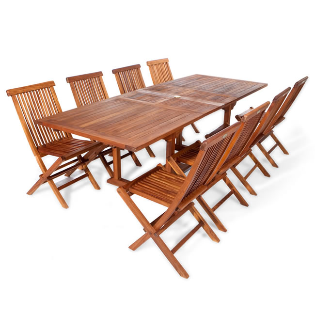 Nine Piece Rectangle Table and Folding Chair Set