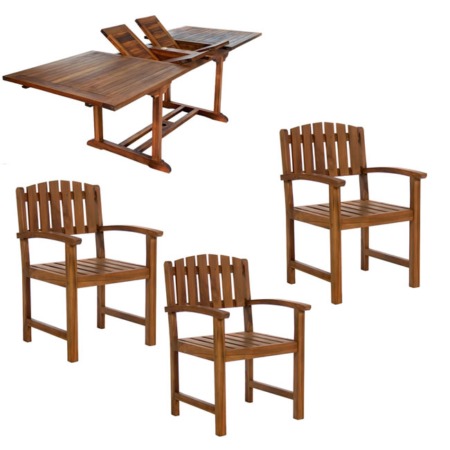 Seven Piece Rectangle Table and Stacking Chair Set