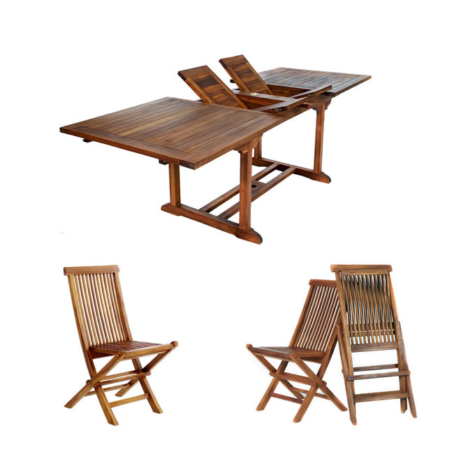 Five Piece Rectangle Table and Folding Arm Chair Set