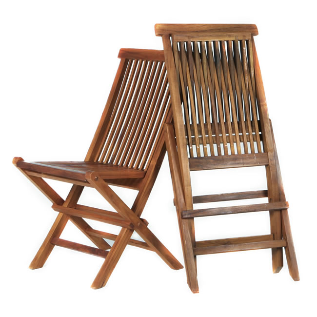 Teak Folding Chairs (Set of Two)